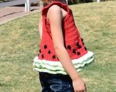 Crochet Tank Top PATTERN - Watermelon Tank Top - Girl's Tank Top Pattern - Girl's Crochet Top - Crochet Top Pattern - Crochet Summer Top
