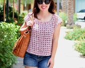 Crochet Top PATTERN - Crochet Shirt Pattern - Crochet Tee Pattern - Summer Crochet Top - Spring Crochet Top