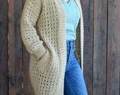 Cafe au Lait Cardigan Crochet PATTERN - Crochet Sweater Pattern