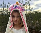Unicorn Hooded Scarf Crochet PATTERN