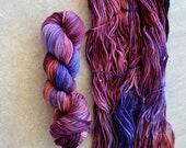 Hand Dyed Yarn - Worsted Weight Yarn - Superwash Merino Wool Yarn - Berrylicious