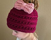 Crochet Messy Bun Beanie with Bow PATTERN
