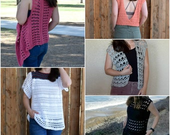 ce47c89d6 Crochet PATTERN BUNDLE - Crochet Top Pattern - Summer Crochet Pattern - Crochet  Cardigan Pattern - Crochet Vest Pattern