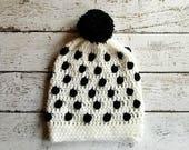 Black and White Bobble Crochet Beanie PATTERN