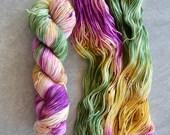 Hand Dyed Yarn - DK Weight Yarn - Superwash Merino Wool Yarn - Wildflower