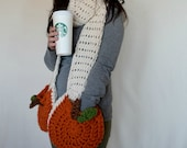 Super Scarf with Pumpkin Pockets Crochet PATTERN