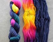 Hand Dyed Yarn - DK Weight Yarn - Superwash Merino Wool Yarn - Hot Summer Nights