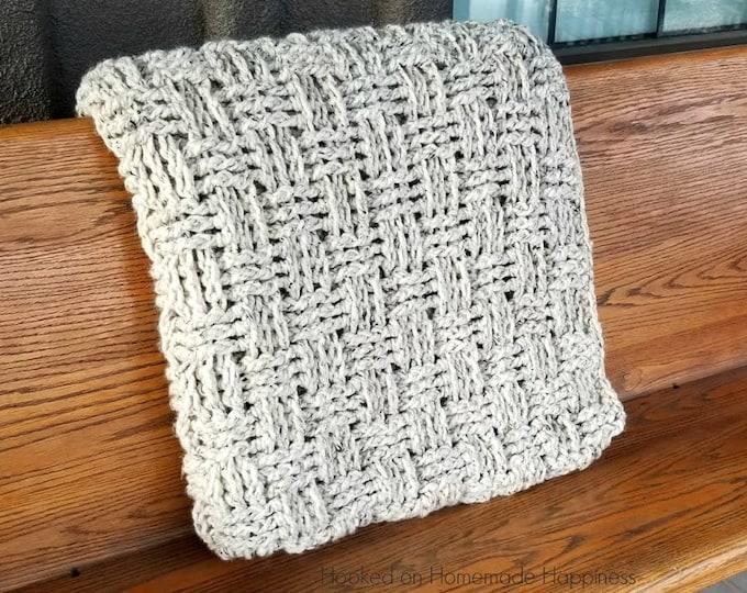 Chunky Basketweave Throw Blanket Crochet Pattern
