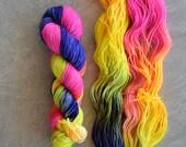 Hand Dyed Yarn - DK Weight Yarn - Superwash Merino Wool Yarn - 80's Workout