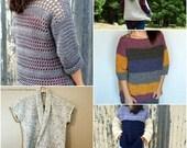 Crochet PATTERN BUNDLE - Crochet Top Pattern - Crochet Sweater Pattern - Crochet Cardigan Pattern - Crochet Vest Pattern