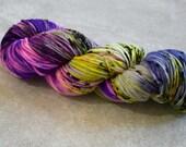 Hand Dyed Yarn - Worsted Weight Yarn - Superwash Merino Wool Yarn - Electric Ave