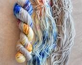 Hand Dyed Yarn - Worsted Weight Yarn - Superwash Merino Wool Yarn - Playdate
