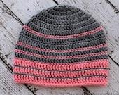 Simple Striped Crochet Beanie PATTERN