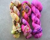 Hand Dyed Yarn - DK Weight Yarn - Superwash Merino Wool Yarn - Fade Set