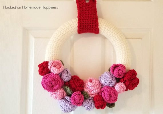 Valentines Day Crochet Pattern Wreath Crochet Pattern Etsy