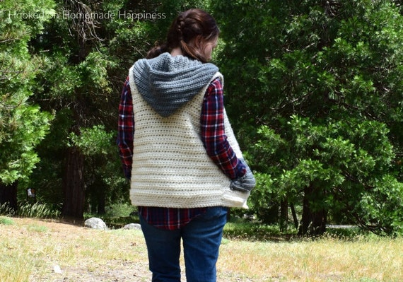 Sweater Vest Crochet Pattern Hooded Vest Pattern Crochet Etsy