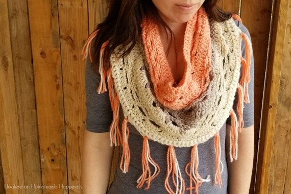 Crochet Cowl Pattern Crochet Infinity Scarf Pattern Caron Etsy