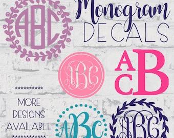 Monogram Decal••Monogram Sticker••Vinyl Monogram Decal••Personalized Monogram Decal••Custom Monogram Decal••Name Decal••foil decal••chrome