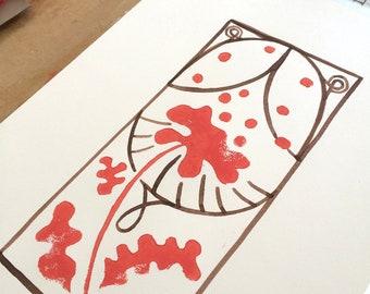 Art Deco Flower Print, Linocut and Ink