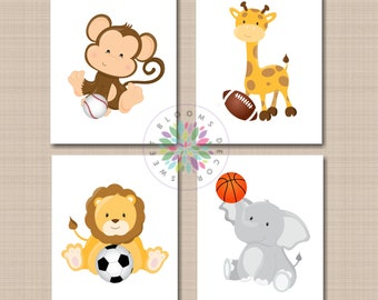 Safari Sports Nursery Wall Art Sports Animals Nursery Decor Baby Boy Future  All Star Soccer Football Baseball Basketball UNFRAMED 4 C722 9a26a8faf