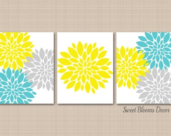 Yellow gray teal | Etsy