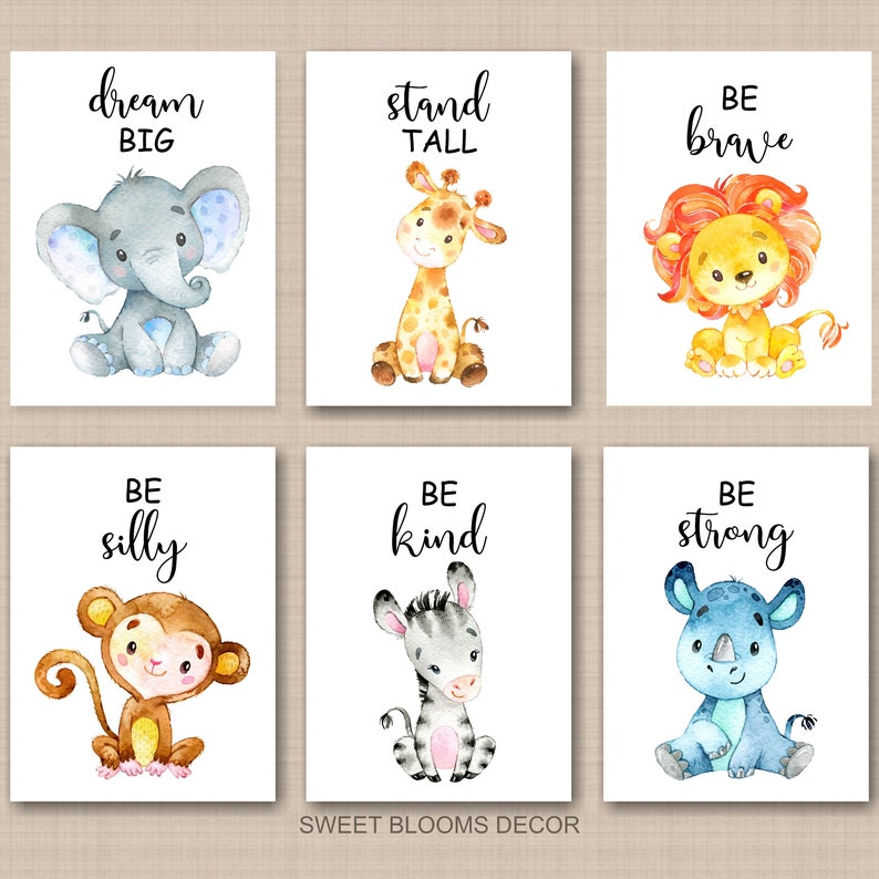 Safari Animals Nursery Wall Art Stand Tall Be Strong Brave Kind Dream Big Neutral Watercolor Lion Monkey Elephant  PRINTS OR CANVAS C899