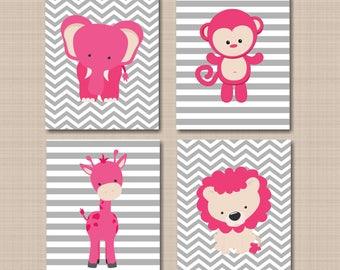 Jungle Nursery Wall Art Pink Gray Animals Nursery Art Girl Pink Gray Nursery Wall Art Girl Safari Animals Chevron Nursery Wall UNFRAMED C510