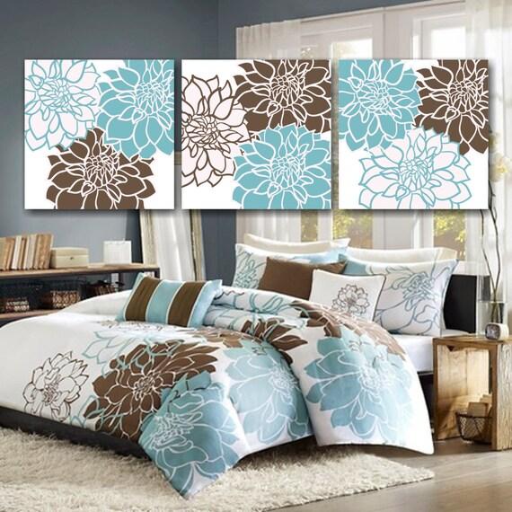 Teal Brown Bedroom Wall Art,Blue Brown Floral Wall Art,Brown Aqua Floral  Wall Art,Blue Brown Bathroom,Modern Bedroom