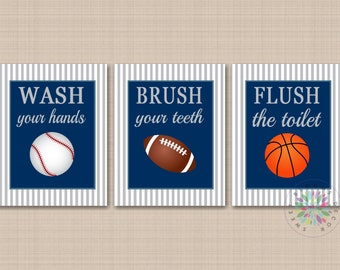 Sports Bathroom Decor,Kids Sports Bathroom Wall Art,Soccer Football  Baseball Basketball Bathroom,