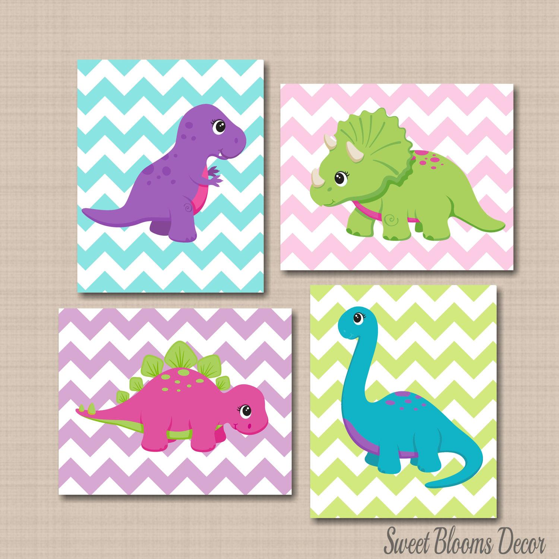 Girly Pink Nursery Decor: Dinosaur Nursery Decor Girl Dinosaur Wall Art Pink Purple
