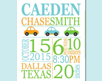 Cars Birth Print,Cars Birth Announcement,Cars Baby Gift,Boy Birth Print,Cars Kids Wall Art,Cars Nursery Wall Art Decor-8X10 DIGITAL OR PRINT