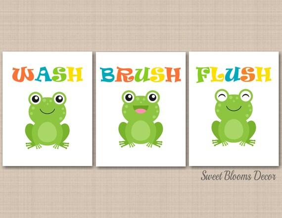 Exceptionnel Frog Bathroom Wall Art Kids Boy Girl Bath Decor Childrens Baby | Etsy