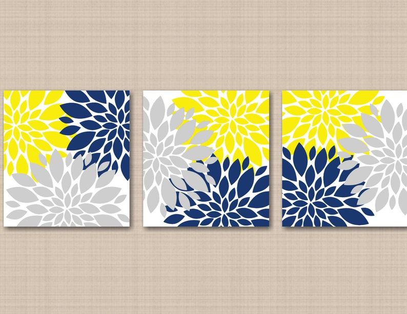 Yellow Navy Blue Gray Floral Wall Art Gray Navy Yellow Wall Etsy
