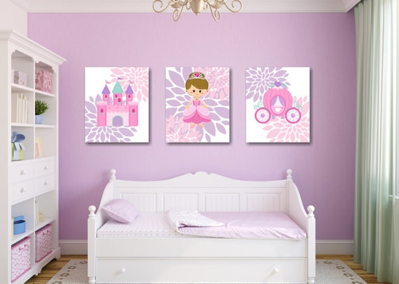 Princess Nursery Wall Art Pink Purple Teal Castle CarriageFlowers Floral  Girl Bedroom Decor Bbay Shower Gift UNFRAMED PRINTS or CANVAS C240