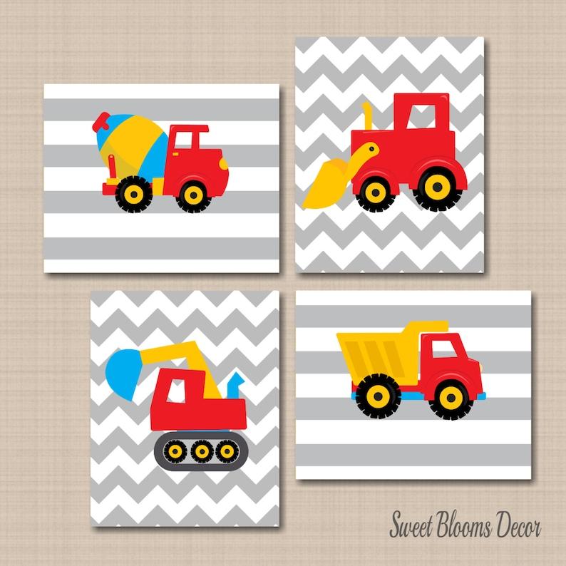 Baby Boy Nursery Wall Art Construction Trucks Vehicles Green Red Blue Yellow Boys Room Wall Art Playroom Art Builder Baby Nursery Decor Art SET OF 4 UNFRAMED PRINTS