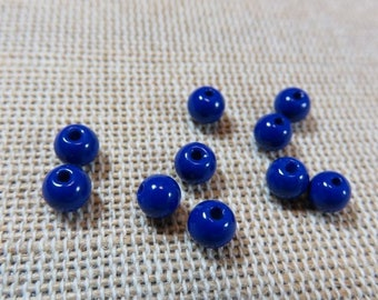 Beads blue glass 4mm sapphire blue beads, 4mm beads, set of 30 beads, bead for jewelry, blue round beads, Bohemian jewelry creation