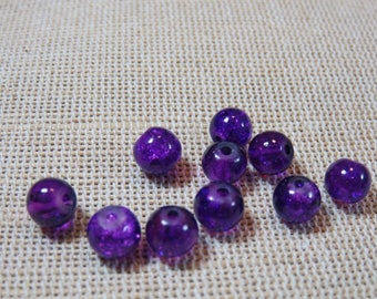 20pcs, Pearl glass beads Crackle, glass round beads 6mm purple pearls, set of 20 beads, purple 6mm, creating jewelry