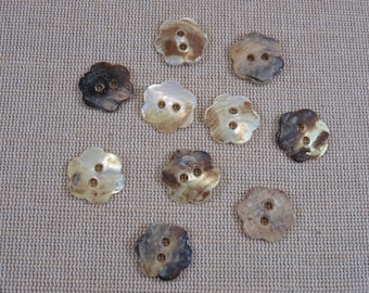10pcs, flowers, pearly buttons buttons 18mm buttons, shells, set of 10 buttons, sewing buttons, buttons unionknopf