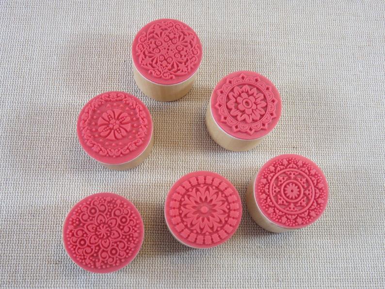 Mandala Ink Stamp  Vintage Wood Effect Rubber Stamps  for image 0