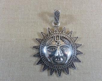 Large silver-coloured metal sun pendant with 73mm beaker - jewelry creation boho necklace incas