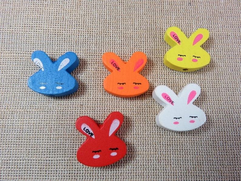 25 Wooden rabbit head beads inscription LOVE 20mm multicolored image 0