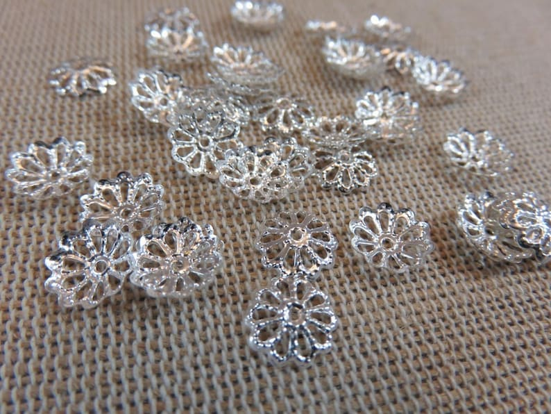 100 Silver flower cups watermarked 8mm metal  set of 100 caps image 0