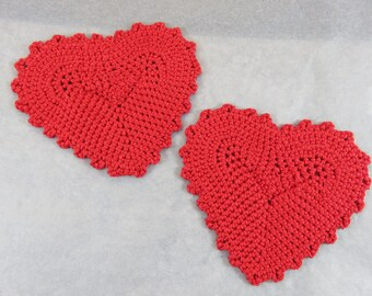 2pcs saucers heart crochet coasters, red cotton, under glass and Cup for couple, coasters, Valentine's day gift