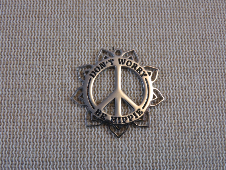 Don't worry be Hippie pendant peace stainless steel 30mm  image 0