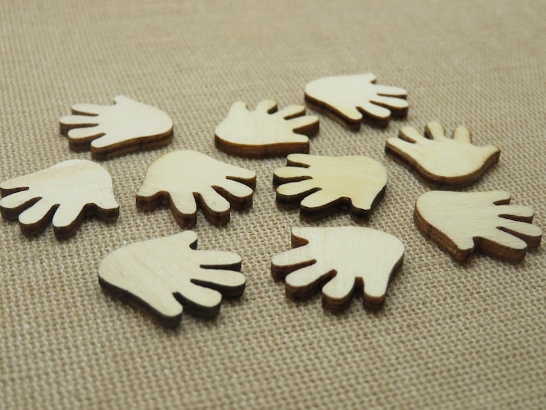10 Main wood cutting 20mm set of 10 Scrapbooking decoration to paste and customize