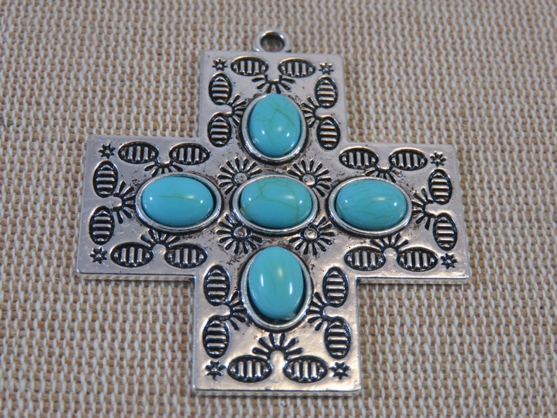 silver-colored metal pendant for making jewelry 47mm boho boho blue cabochon pendant