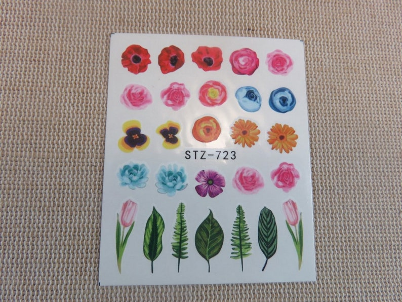 Nails-art Butterfly nail stickers nature flowers-decal by stz723