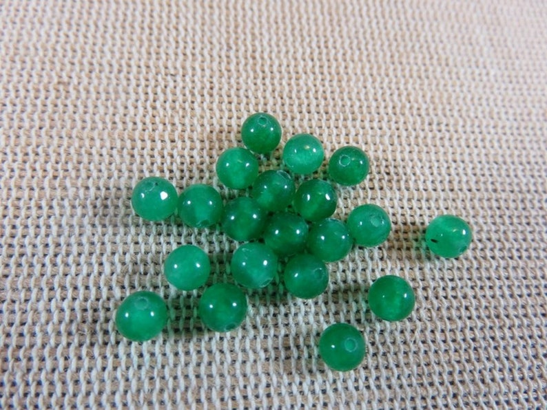 10 Round green jade pearls 4mm 6mm 8mm 10mm  set of 10 image 0