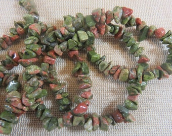 50 Pearls Unakite irregular chips 5mm to 11mm - set of 50 gemstone for making jewelry