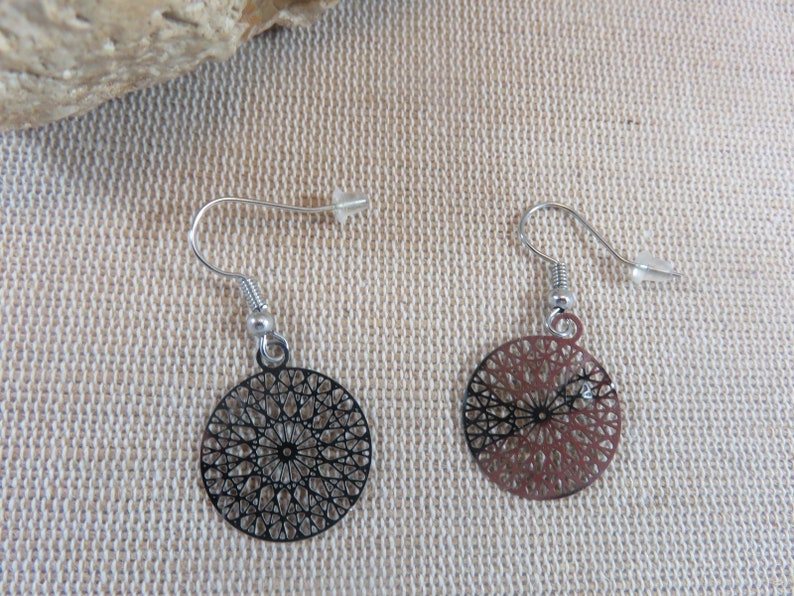 Round earrings mandala silver watermarked print  women's image 0